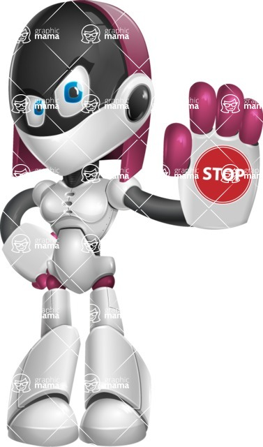 Digitally Intelligent Vector Graphic Android - set of different poses - Stop