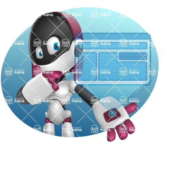 Digitally Intelligent Vector Graphic Android - set of different poses - Shape4