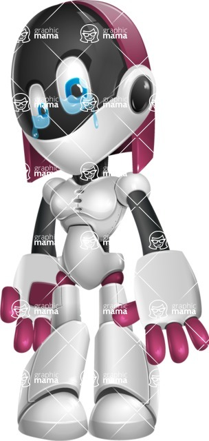 Digitally Intelligent Vector Graphic Android - set of different poses - Sad