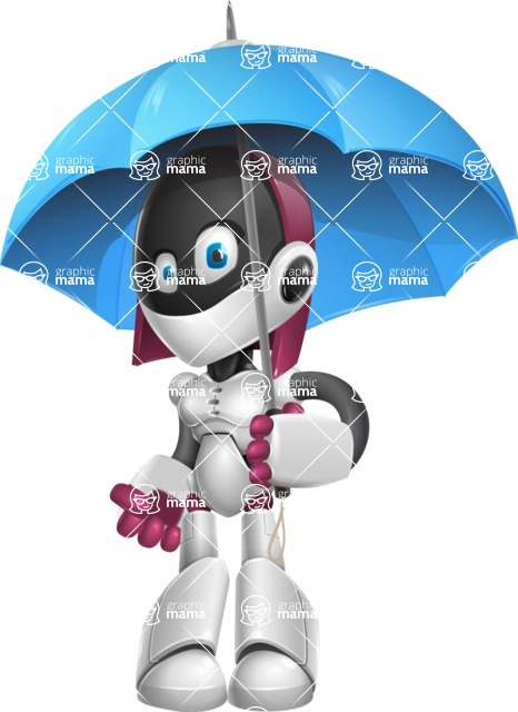Digitally Intelligent Vector Graphic Android - set of different poses - Umbrella