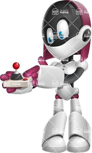 Digitally Intelligent Vector Graphic Android - set of different poses - Joystick