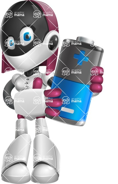 Digitally Intelligent Vector Graphic Android - set of different poses - Battery