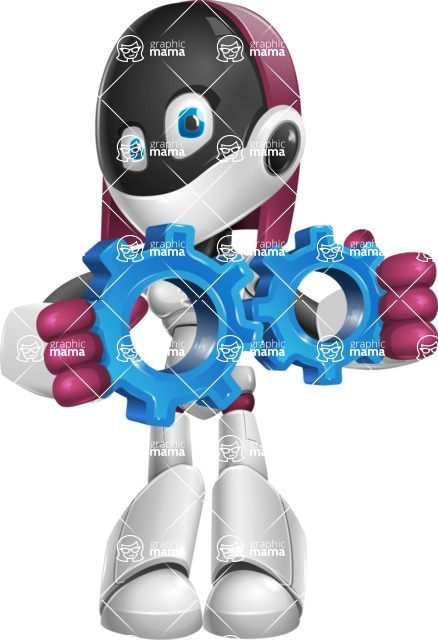 Digitally Intelligent Vector Graphic Android - set of different poses - Gears
