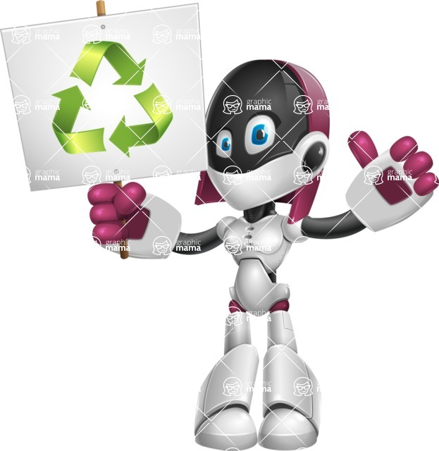 Digitally Intelligent Vector Graphic Android - set of different poses - Recycle