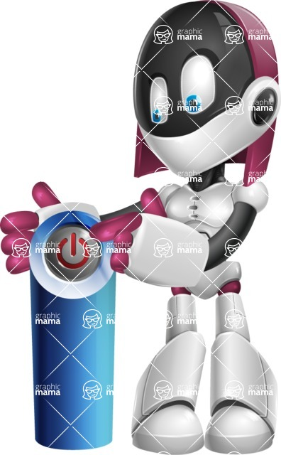 Digitally Intelligent Vector Graphic Android - set of different poses - Power Button