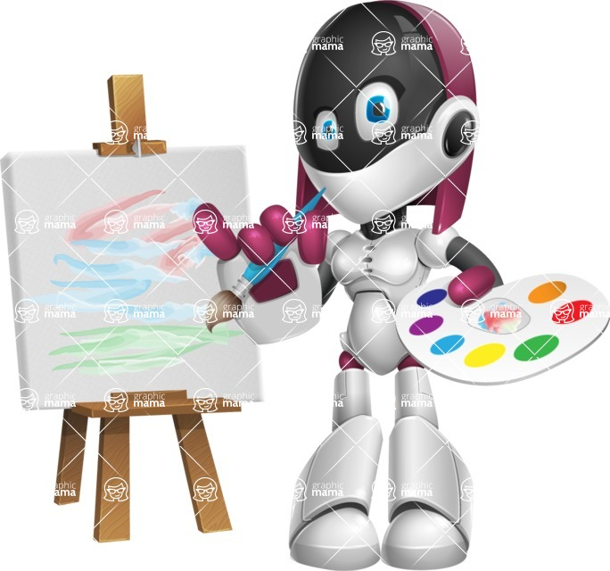 Digitally Intelligent Vector Graphic Android - set of different poses - Artist