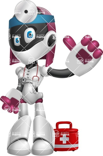 Digitally Intelligent Vector Graphic Android - set of different poses - Doctor