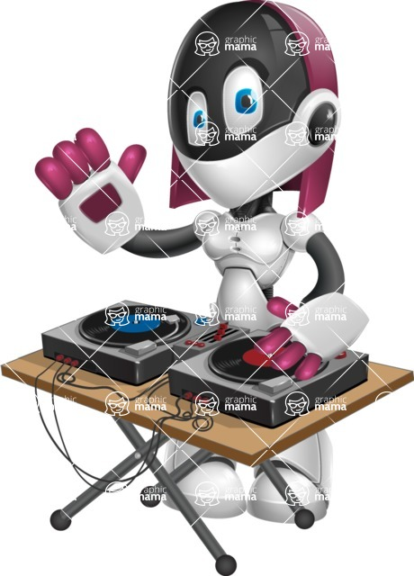 Digitally Intelligent Vector Graphic Android - set of different poses - DJ