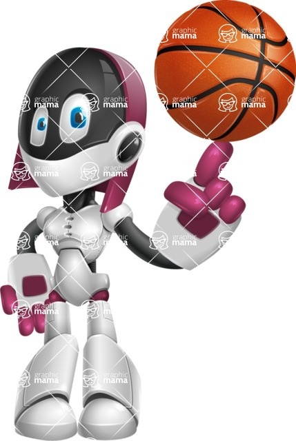 Digitally Intelligent Vector Graphic Android - set of different poses - Basketball