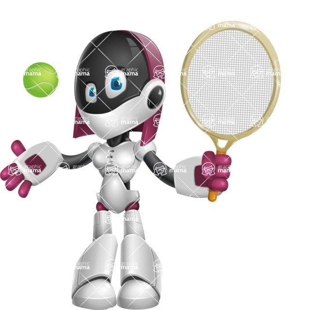 Digitally Intelligent Vector Graphic Android - set of different poses - Tennis 1