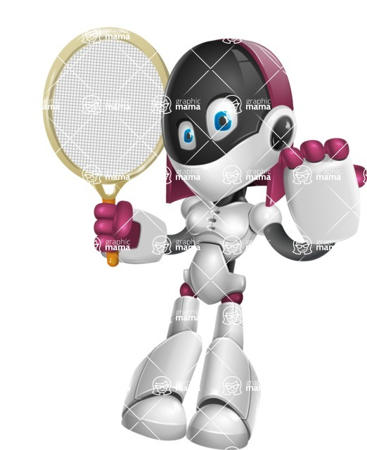 Digitally Intelligent Vector Graphic Android - set of different poses - Tennis 2