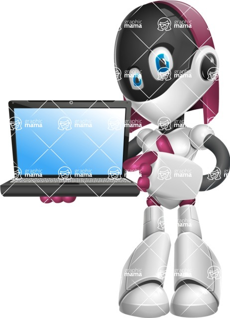 Digitally Intelligent Vector Graphic Android - set of different poses - Laptop 3