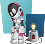 Digitally Intelligent Vector Graphic Android - set of different poses - Android Vector Graphic female cartoon character - background light bulb