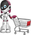 Digitally Intelligent Vector Graphic Android - set of different poses - Shopping Cart
