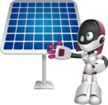 Digitally Intelligent Vector Graphic Android - set of different poses - Solar Panel