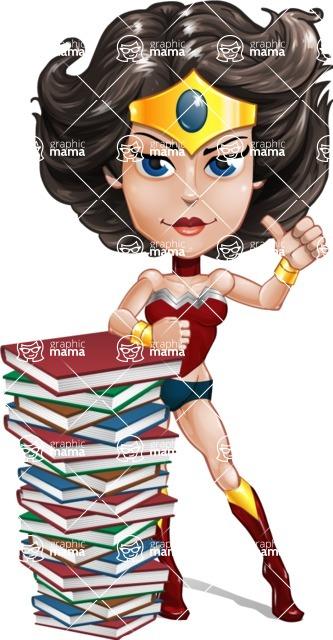 Cute Cartoon Girl Superhero Vector Character AKA Lady Ricochette - Books