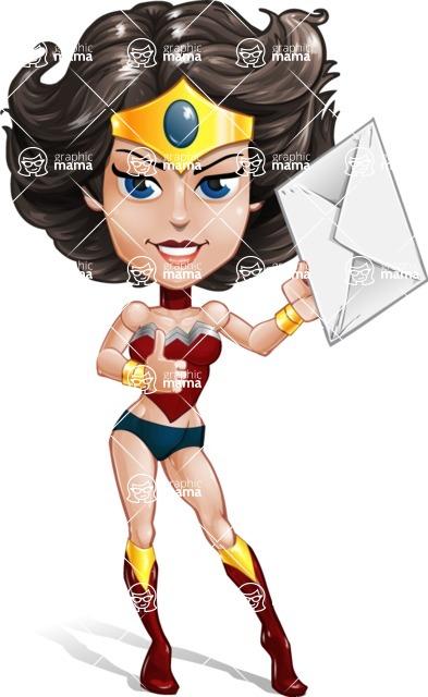 Cute Cartoon Girl Superhero Vector Character AKA Lady Ricochette - Letter 2