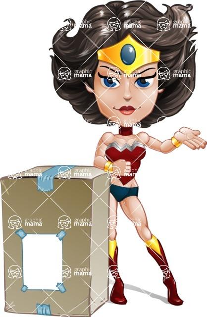 Cute Cartoon Girl Superhero Vector Character AKA Lady Ricochette - Delivery