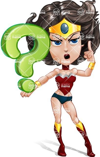 Cute Cartoon Girl Superhero Vector Character AKA Lady Ricochette - Question