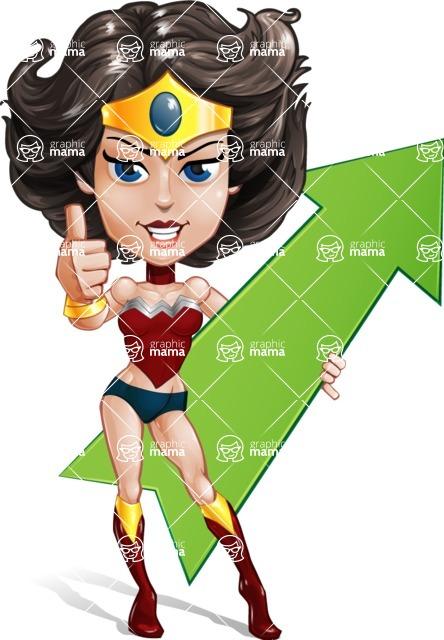 Cute Cartoon Girl Superhero Vector Character AKA Lady Ricochette - Arrow
