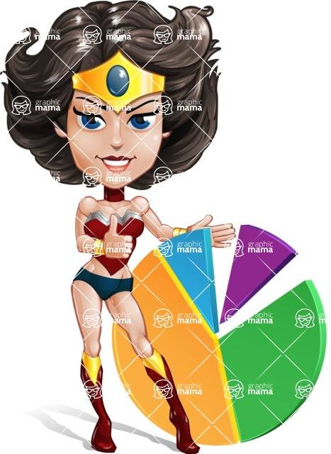 Cute Cartoon Girl Superhero Vector Character AKA Lady Ricochette - Chart