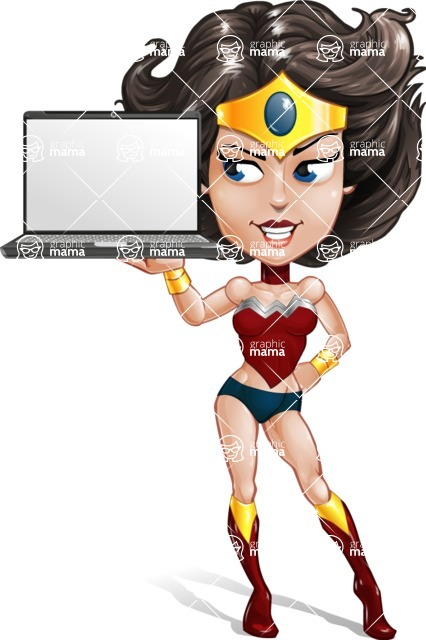 Cute Cartoon Girl Superhero Vector Character AKA Lady Ricochette - Notebook