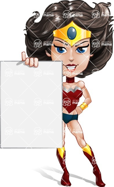 Cute Cartoon Girl Superhero Vector Character AKA Lady Ricochette - Presentation 2
