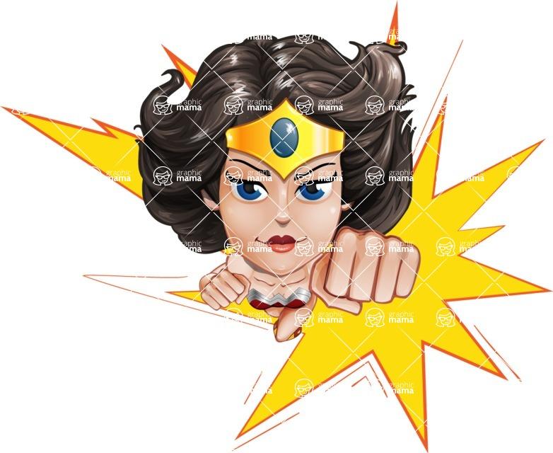 Cute Cartoon Girl Superhero Vector Character AKA Lady Ricochette - Shape 1