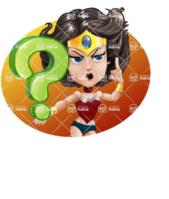 Cute Cartoon Girl Superhero Vector Character AKA Lady Ricochette - Shape 5