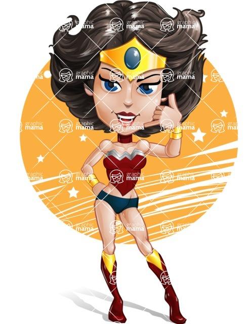 Cute Cartoon Girl Superhero Vector Character AKA Lady Ricochette - Shape 6