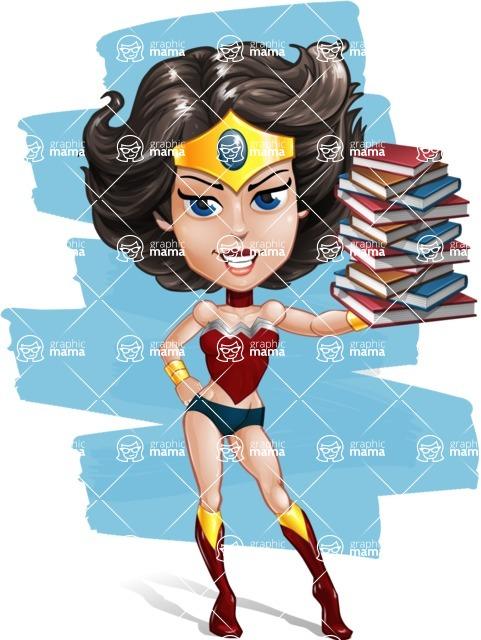 Cute Cartoon Girl Superhero Vector Character AKA Lady Ricochette - Shape 10