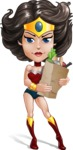 Cute Cartoon Girl Superhero Vector Character AKA Lady Ricochette - Food Stuff