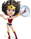 Cute Cartoon Girl Superhero Vector Character AKA Lady Ricochette - Time is Yours