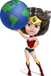 Cute Cartoon Girl Superhero Vector Character AKA Lady Ricochette - Earth