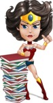 Cute Cartoon Girl Superhero Vector Character AKA Lady Ricochette - Books