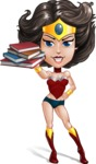 Cute Cartoon Girl Superhero Vector Character AKA Lady Ricochette - Books 2