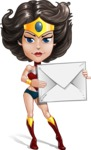 Cute Cartoon Girl Superhero Vector Character AKA Lady Ricochette - Letter