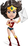 Cute Cartoon Girl Superhero Vector Character AKA Lady Ricochette - Letter 2