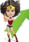 Cute Cartoon Girl Superhero Vector Character AKA Lady Ricochette - Arrow