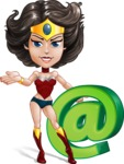 Cute Cartoon Girl Superhero Vector Character AKA Lady Ricochette - Email