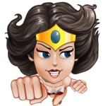Cute Cartoon Girl Superhero Vector Character AKA Lady Ricochette - Fly 2