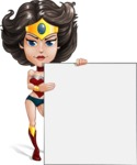 Cute Cartoon Girl Superhero Vector Character AKA Lady Ricochette - Presentation 4