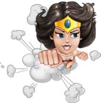 Cute Cartoon Girl Superhero Vector Character AKA Lady Ricochette - Shape 2