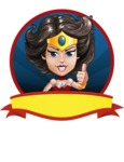 Cute Cartoon Girl Superhero Vector Character AKA Lady Ricochette - Shape 4