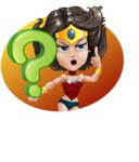 Cute Cartoon Girl Superhero Vector Character AKA Lady Ricochette - Shape 5
