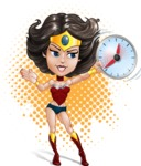 Cute Cartoon Girl Superhero Vector Character AKA Lady Ricochette - Shape 11