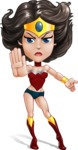 Cute Cartoon Girl Superhero Vector Character AKA Lady Ricochette - Angry 1
