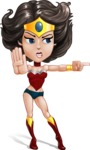 Cute Cartoon Girl Superhero Vector Character AKA Lady Ricochette - Angry 2