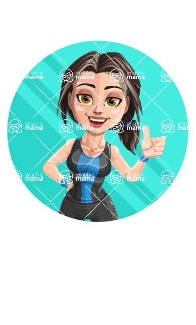 Cute Fitness Woman Cartoon Vector Character AKA Marina - Shape 1