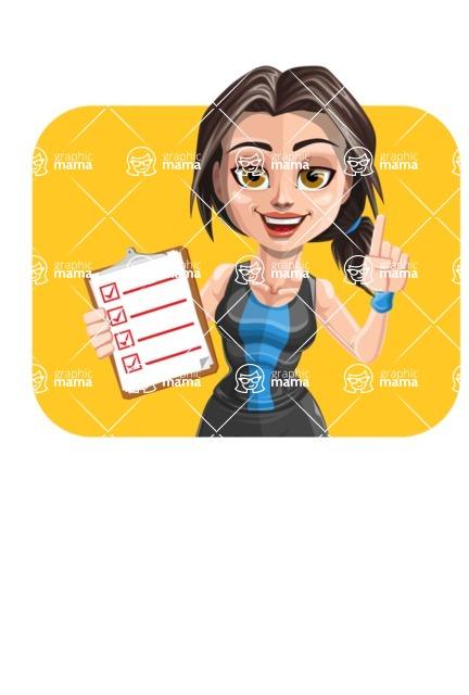 Cute Fitness Woman Cartoon Vector Character AKA Marina - Shape 2